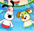 Cún con thi bơi