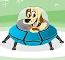 Cún lái đĩa bay