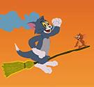 Tom và Jerry cưỡi chổi bay