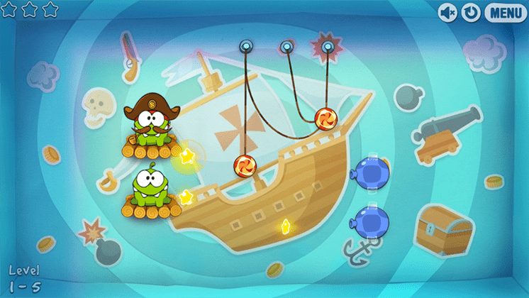 game cut the rope time travel om nom an keo hinh anh 2